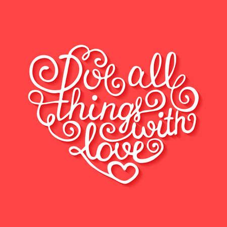 carta de amor: Tarjeta con dibujado a mano tipograf�a elemento de dise�o para tarjetas de felicitaci�n, carteles y de impresi�n. El amor todas las cosas con amor sobre fondo rojo con sombras Vectores