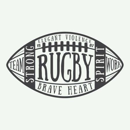 pelota de rugby: Rugby o una pelota de fútbol americano con la tipografía. Ilustración del vector con letras
