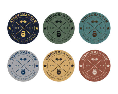 athletic: Gym logo color set in vintage style