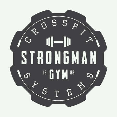 workout gym: Gym logo in vintage style. Vector illustration.