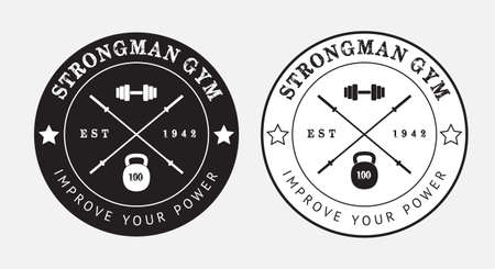 Gym vector logo in black and white, eps 10