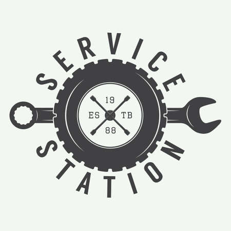 wheel change: Vintage mechanic label, emblem and logo. Vector illustration