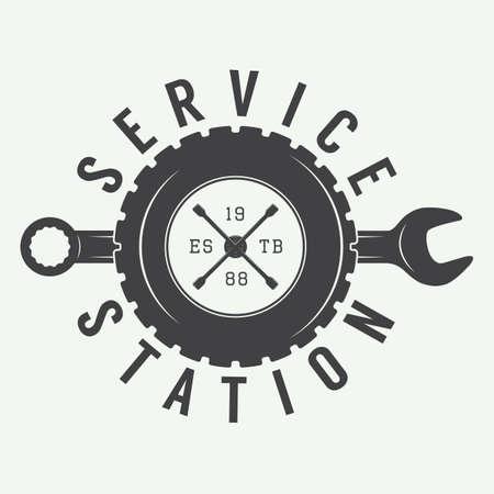 Vintage monteur etiket, embleem en logo. Vector illustratie Stock Illustratie