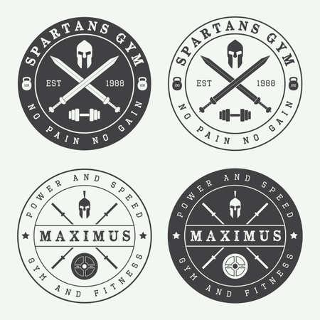 guerrero: Conjunto de la vendimia gimnasio logotipos, etiquetas y emblemas Vectores