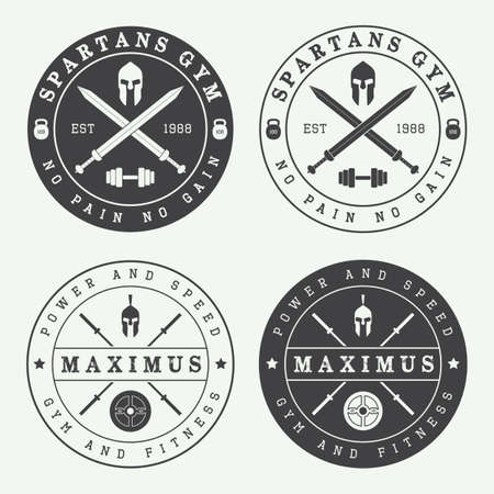barbell: Set of vintage gym logos, labels and emblems