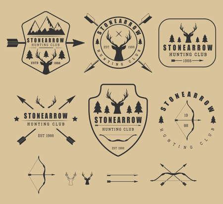 hunting: Set of vintage hunting logos, labels, badges and elements Illustration