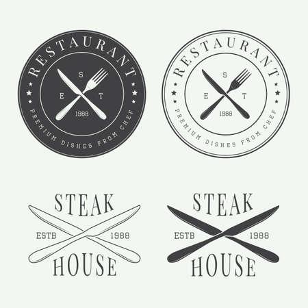 Carnicería: Conjunto de la vendimia restaurante insignia, insignia y emblema