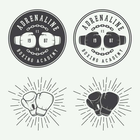 Boksen en martial arts logo badges en labels in vintage stijl. Vector illustratie