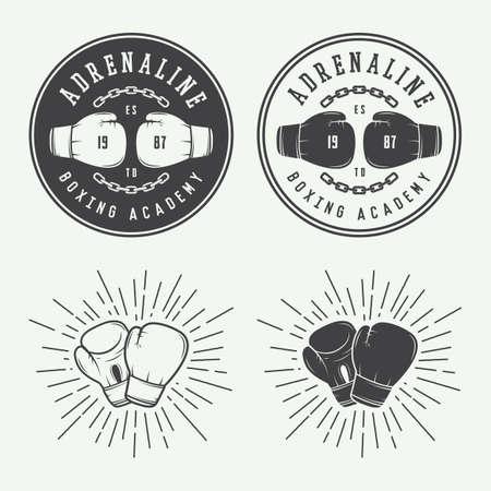 guantes de boxeo: Boxeo y marciales insignias logotipo artes y etiquetas de estilo vintage. Ilustración vectorial