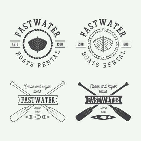 Set of vintage rafting logo, labels and badges. Vector illustration Çizim