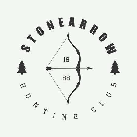 arco y flecha: Caza logo en el estilo vintage. Ilustración del vector.