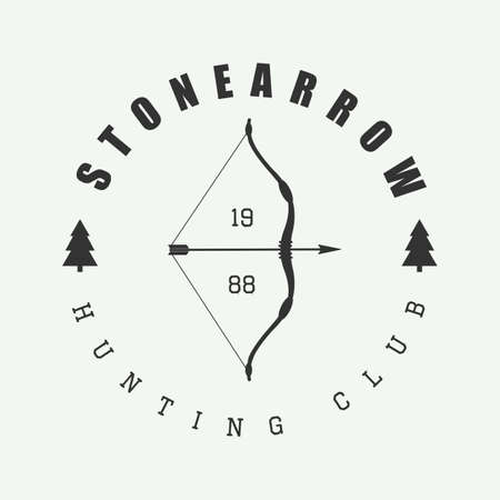 bow and arrow: Hunting logo in vintage style. Vector illustration. Illustration