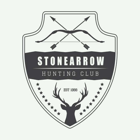 deer hunter: Vintage hunting label, logo, badge and design elements. Vector illustration