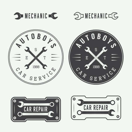automotive repair: Set of vintage mechanic labels, emblems and logo. Vector illustration