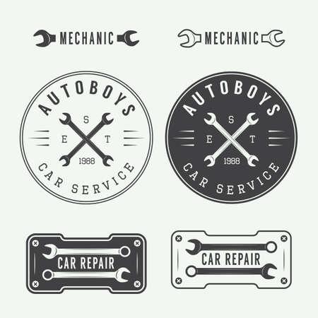 mechanic: Set of vintage mechanic labels, emblems and logo. Vector illustration