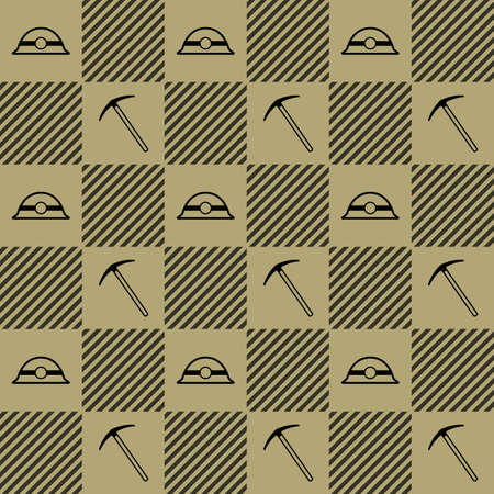 mine lamp: Mining pattern with helmet and pick Illustration
