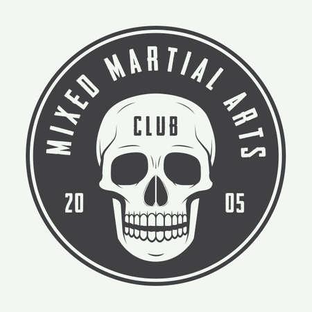 blood sport: Vintage mixed martial arts logo, badge or emblems. Vector illustration