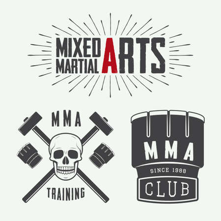 mma: Set of vintage mixed martial arts logo, badges and emblems. Vector illustration