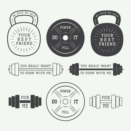 crossfit: Set of motivation logos, labels and slogans