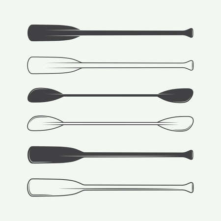 Set of vintage paddles. Vector illustration Vectores