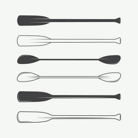 kayak: Set of vintage paddles. Vector illustration Illustration