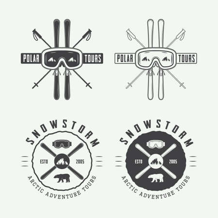 mountaineering: Vintage arctic mountaineering logos, badges, emblems and design elements. Vector illustration