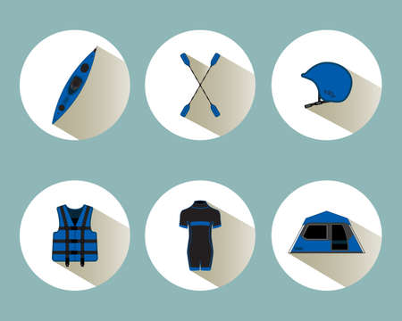 diving save: Rafting set icons with shadows in blue color, eps 10 Illustration