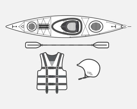 casque: Flat rafting vector set black and white, eps 10