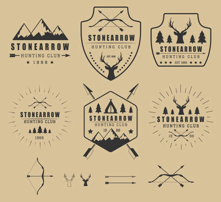 bow and arrow: Set of vintage hunting logos, labels, badges and elements Illustration