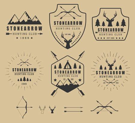 Set of vintage hunting logos, labels, badges and elements Иллюстрация
