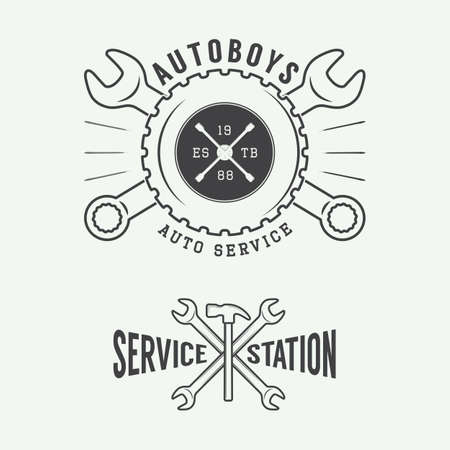 mechanic: Vintage mechanic label, emblem and logo. Vector illustration