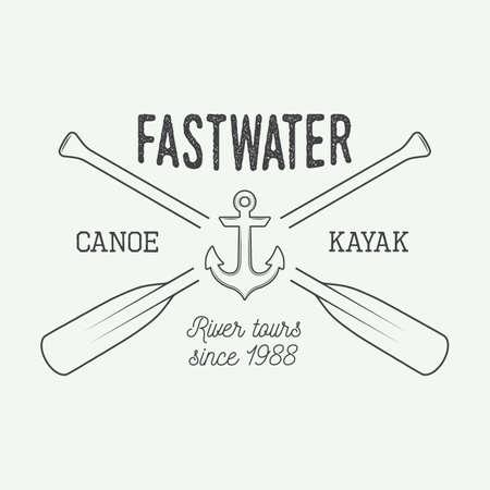 paddle: Vintage rafting logo, label or badge. Vector illustration