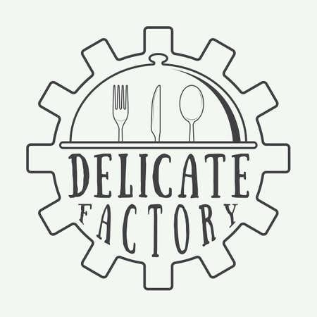 comida rica: Logo restaurante Vintage, insignia o emblema. Ilustración vectorial