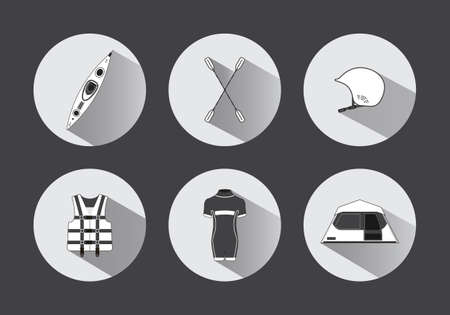 diving save: Flat rafting vector icons in black and white with long shadows