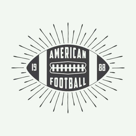 brave of sport: Vintage american football or rugby ball logo, badge or label. Vector illustration