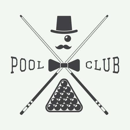 billiard balls: Vintage billiard label, emblem and logo Illustration