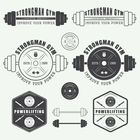 Set of gym logo, labels, badges and elements in vintage style Çizim