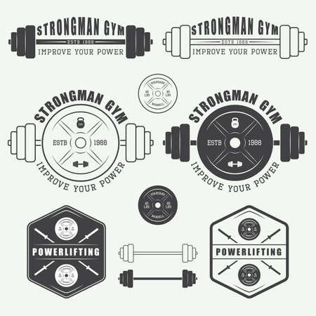 Set of gym logo, labels, badges and elements in vintage style Stock Illustratie