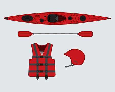 rescue: Red flat rafting vector set, eps 10