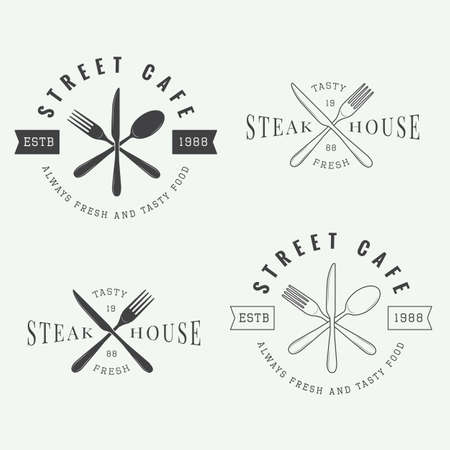 meat knife: Set of vintage restaurant logo, badge and emblem