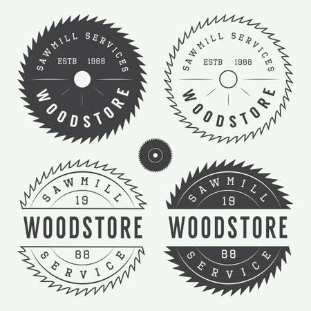 blades: Set of vintage sawmills labels, emblems, logo, badges and design elements Illustration