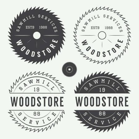 Set of vintage sawmills labels, emblems, logo, badges and design elements Illustration