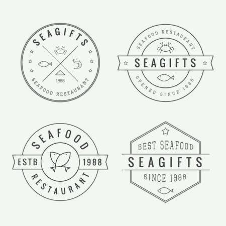 logo poisson: Ensemble de millésime restaurant de fruits de logo, l'emblème et l'insigne
