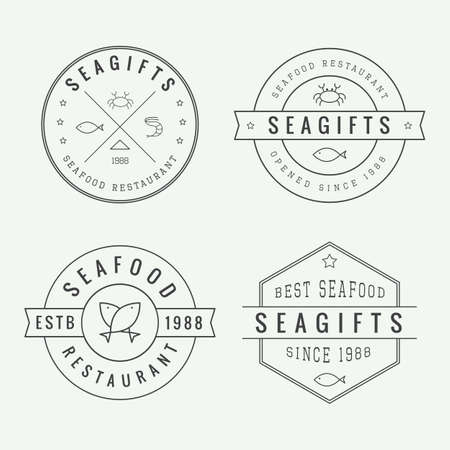 restaurant table: Set of vintage seafood restaurant logo, emblem and badge