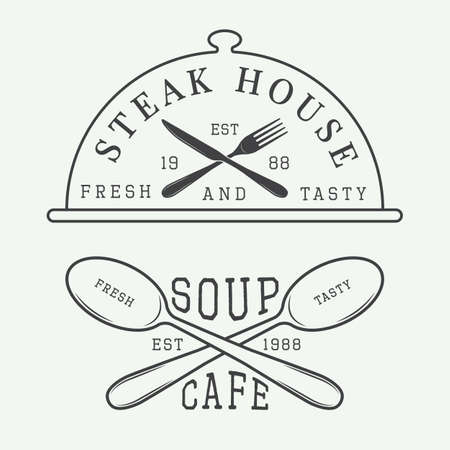 Set of vintage cafe and steak house logo, badge and emblem with spoons, forks and knifes