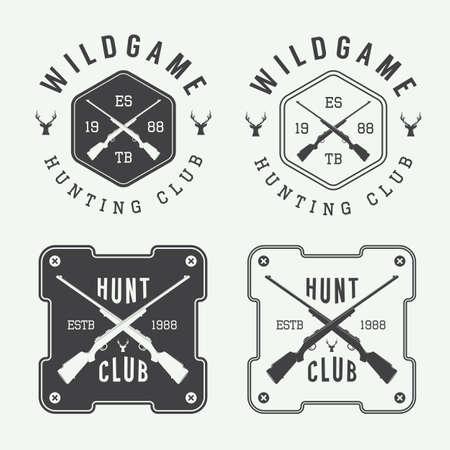badge vector: Set of vintage hunting labels, badge and design elements. Vector illustration
