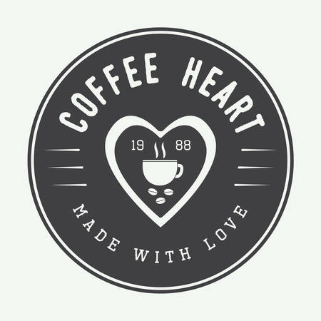 hearts: Vintage coffee, label or emblem with inspirational quote Made with love. Vector illustration