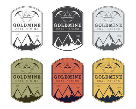 mining equipment: Coal mining vector logo badge in vintage style. Different colors.