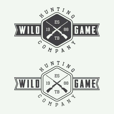 silueta: Conjunto de etiquetas de caza vintage, placas y elementos de diseño. Ilustración vectorial