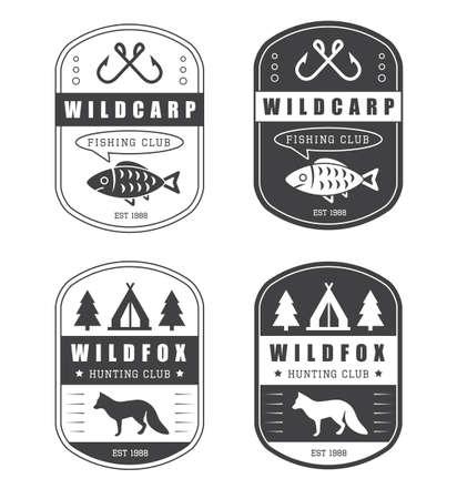 fishing net: Set of vintage hunting and fishing